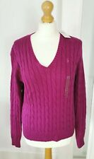 BNWT Classic Ralph Lauren Size L UK 12-14 Dark Pink Cable Knit Jumper