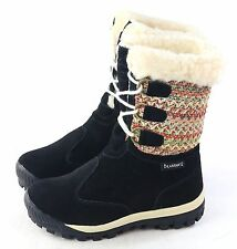 Bearpaw Womens Ophelia Winter Boots Black Suede Sheepskin Size 6 M US