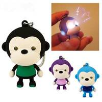 Cute Monkey Keychain Keyring with LED Light and Animal Sound Kawaii Pendant Gift