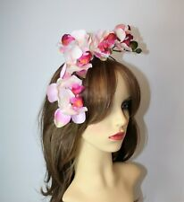 Large Pink Blush Orchid Flower Headband - Fascinator - Wedding, Races, Party.