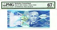 BARBADOS $2 DOLLARS 2013 CENTRAL BANK PMG GEM UNC PICK 73 LUCK MONEY VALUE $123