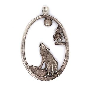 VTG Estate Navajo Sterling Silver Howl at the Moon Wolf Cut Out Pendant! 92
