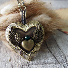 Emerald CZ Angel Wing Heart Brass Picture Locket Pendant Necklace