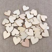 50X Holz Herz 40mm DekoTischdeko Hochzeit Taufe Basteln Schmücken Y1D2