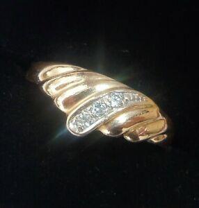 Russian 14ct Rose Gold Three Stone Fan Ring, Size J