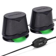 Computer Speakers USB Powered Green LED Glow Lights 10W Peak Sound