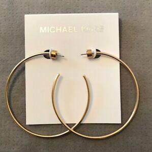 MICHAEL KORS Plain Hoop Earrings (6cm) Gold Tone