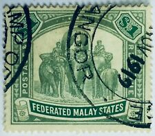 MALAYA 1907 FMS Elephants & Howdah $1 used wmk MCCA SG #48 M2395