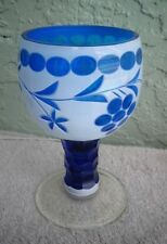 Bohemia Glass OVERLAY White Cut to Blue GOBLET Chalice Grapes Faceted Stem