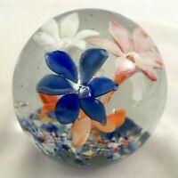 Vintage Antique Small Hand Blown Glass Paperweight Floral Flowers Blue Orange