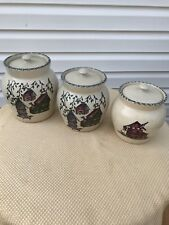 Home and Garden Party BIRDHOUSE Stoneware Canister Set 3-Pc with Lids