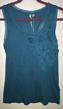 NEW Lauren Conrad American Beauty Blue Top Pima Cotton Small S NWT 3D Rose Tank