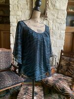 Emerald Green Black Chiffon Flutter Blouse Loose   Large