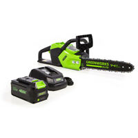 Greenworks CS-140 14-Inch 40V Brushless Cordless Chainsaw,3AH Battery+Charger