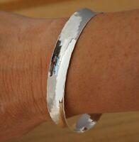Solid 925 Sterling Silver Hammered Cuff Bangle Bracelet UK Hallmarked