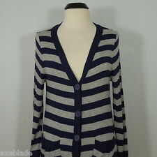 AMERICAN DREAM Striped Cardigan Top, Stretch, Gray/Navy, size L