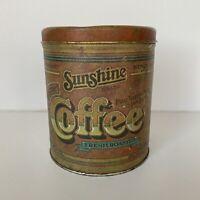 Vintage Sunshine Brand Coffee Tin Can 1977 Ballonoff Cleveland USA Empty