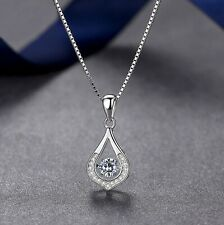 925 Sterling Silver Water Drop Dancing Stone Pendant Necklace Womens Jewellery