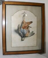 Original antique 1850's Edouard Travies hunting bird trophy lithograph print art