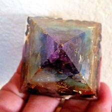 "smaller 1 7/8"" TACHYON ORGONE PYRAMID GENERATOR genuine stones chakra colors"