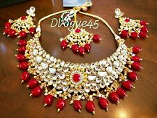 Bridal Wedding Indian Pakistani Ethnic Kundan StoneLong Rani Haar Necklace Set .