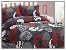 Rust Charcoal White Skull Print 3pc * Double Quilt Doona Cover +2 Pillowcase Set