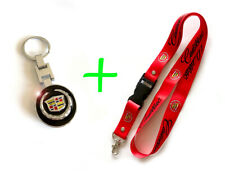 Combo CADILLAC Key Chain Keychain and Lanyard Black and Red