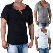 RedBridge Herren Regular T-Shirt Oversized Auschnitt Kapuze Streetwear  Freizeit 395e57cbe4
