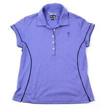 Adidas CLIMACOOL Womens Purple Polo Deep V-neck Athleisure Golf Tennis Hike Tee
