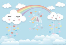 Backdrop Birthday Clouds Rainy Rainbow Photography 3x2ft Background Studio Props