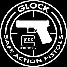 Autocollant sticker rond noir GLOCK SAFE ACTION PISTOLS ( PERFECTION 26 17 19