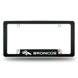 Denver Broncos Metal Carbon Fiber Design ALL OVER License Plate Frame