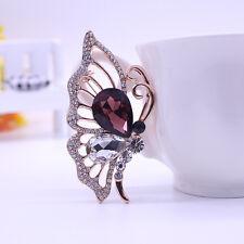 Women Butterfly Rhinestone Crystal Diamante Brooch Wedding Bridal Broach Pins