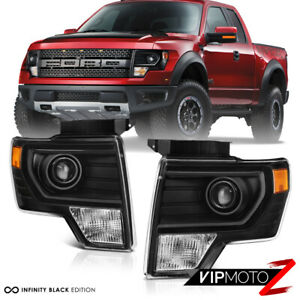[FACTORY PROJECTOR STYLE] For 09-14 Ford F150 Black Projector Headlight Lamp L+R