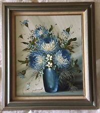 VINTAGE GORGEOUS FRAMED ORIGINAL OIL PAINTING OF FLOWERS by RISPOLI - SIGNED