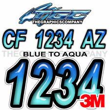 STIFFIE Whipline WL17 Boat PWC Numbers Decal Registration SEA-DOO BLACK SKY BLUE