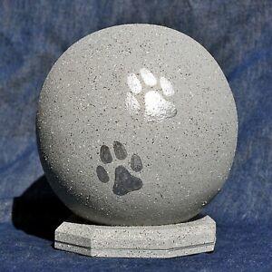 Urne für Hunde, Tierurne, Kugelurne Granitoptik-silber, bis 18 kg Tiergewicht