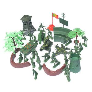 37Pcs Plastic 5cm Action Figures Army Men Base Model Playset Toy Soldiers