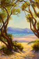 Original Australian landscape Oil Painting Whitsundays Island QLD by Vidal
