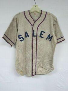 Vintage 50s Wool Baseball Jersey RALEIGH Salem Hooks Cafe Varsity Sport Uniform