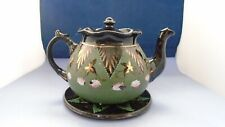 Jackfield? Black & Green Teapot with Gold Gilt and Plate #1144