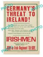 POSTCARD SIZE PHOTO OF WWI ALLIES MILITARY POSTER GERMANYS THREAT TO IRELAND