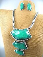 Glass Stone Necklace Earring Set Costume Metal Fashion Jewelry Statement