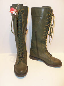 NEW Lucky Brand OD Green Olive Drab Blossom KneeHigh Leather Combat Boots Sz 5.5