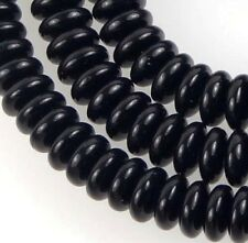 50 Czech Glass Rondelle Beads - Jet / black onyx 6x2mm