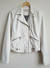 ZARA  TRAFALUC WOMENS FAUX LEATHER OFF WHITE BIKER JACKET SIZE M
