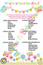 What's In Your Handbag Baby Shower Game 20 Sheets Players Boy Girl Neutral