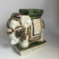 Vintage Mid Century Glazed Ceramic Elephant Ashtray Figurine Hollywood Regency
