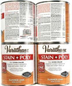 4 Varathane Stain Poly Rich Even Color Summer Oak Semi Gloss Soap Cleanup 32 oz