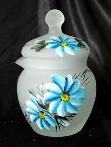 VINTAGE FENTON FROSTED SATIN GLASS HAND PAINTED COVERED DISH / POWDER JAR